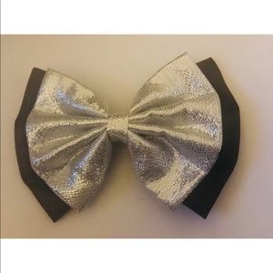 New Hair Bow Silver Shimmer with Black